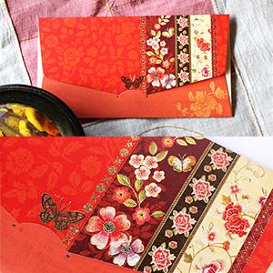 전통봉투붉은 꽃 밭