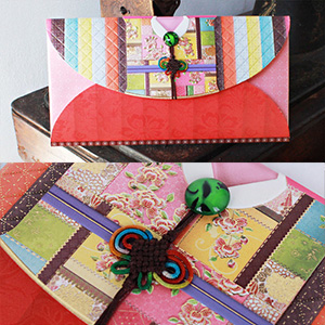 전통봉투붉은 색동한복